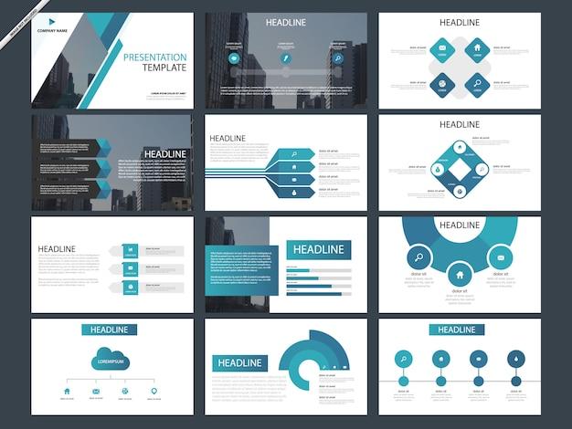 Blaue abstrakte präsentationsschablonen infographic