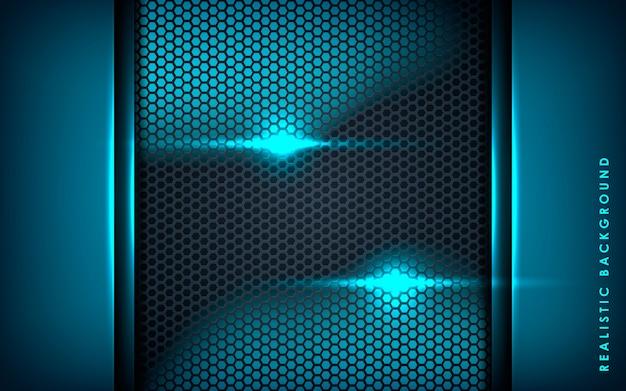 Blaue abstrakte schichten auf schwarzem hexagonhintergrund