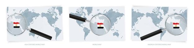 Blaue abstrakte weltkarten mit lupe auf der karte von ägypten mit der nationalflagge ägyptens. drei versionen der weltkarte.