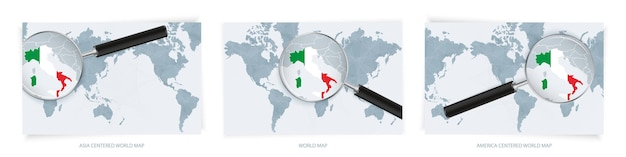Blaue abstrakte weltkarten mit lupe auf der karte von italien mit der nationalflagge italiens.