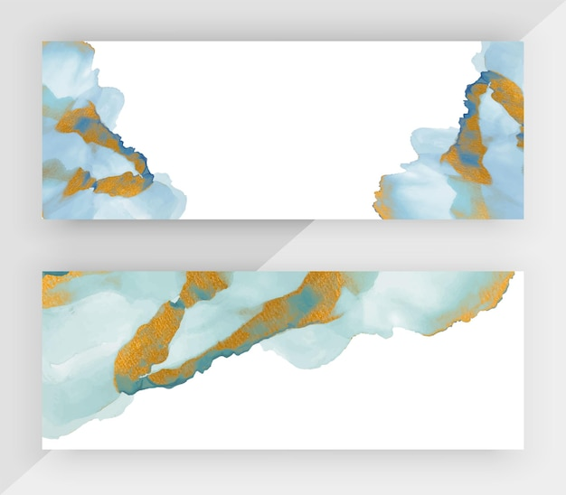 Blaue alkoholtinte mit horizontalen goldglitter-bannern