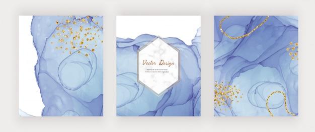 Blaue alkoholtinte texturabdeckungen mit goldglitter-konfetti und marmorrahmen. abstrakter handgemalter aquarellentwurf