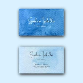Blaue aquarell-firmenvisitenkartenschablone