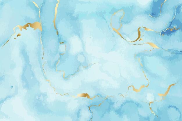 Blaue aquarell flüssige malerei mit gold marmor textur tinte spritzer hintergrund vektor-illustration