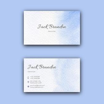 Blaue aquarell-visitenkartenschablone