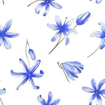 Blaue aquarellblumen des nahtlosen musters. frühlingsblumen auf einem weißen hintergrund