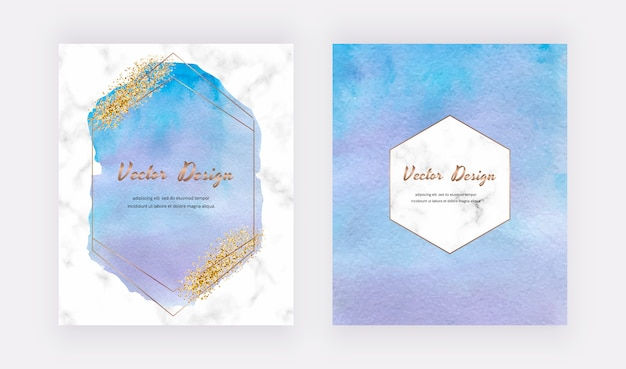 Blaue aquarellkarten mit goldglitterstruktur, konfetti und geometrischen polygonalen linienrahmen. modernes abstraktes cover-design.