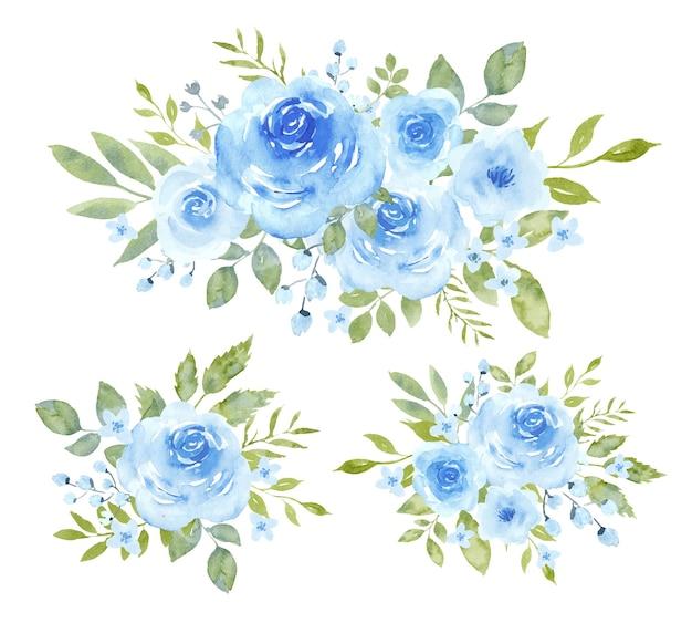 Blaue aquarellsträuße vektorillustrationen