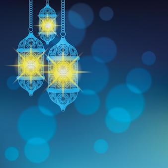 Blaue arabische lampe hintergrund