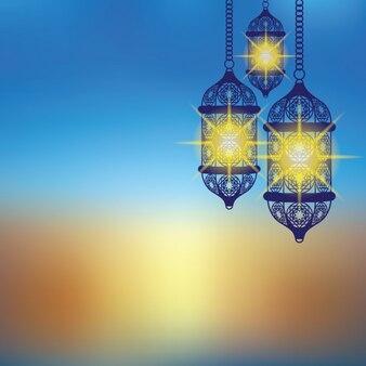 Blaue arabische laterne hintergrund