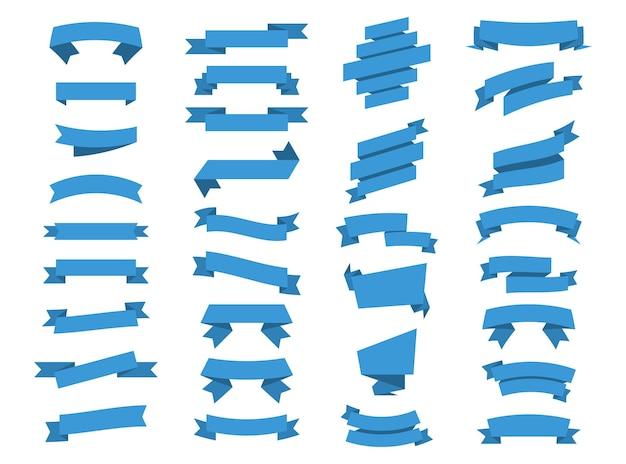 Blaue bänder-banner. band und banner. set von vektor-banner-bändern. illustrationssatz blaues klebeband. vektor-sammlung isolierte bänder banner