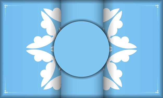 Blaue bannervorlage mit abstraktem weißem muster und platz unter ihrem text