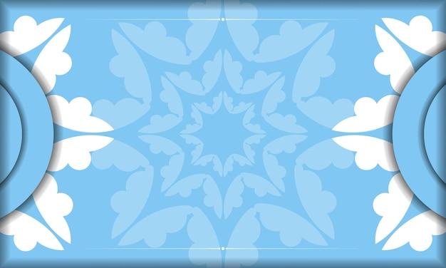 Blaue bannervorlage mit abstrakter weißer verzierung und platz unter ihrem text