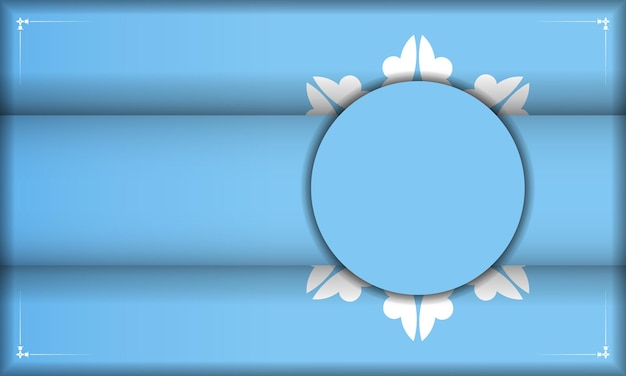 Blaue bannervorlage mit luxuriösem weißem muster und platz unter ihrem text