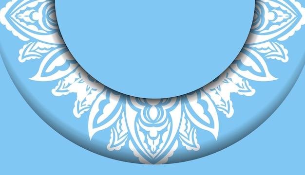 Blaue bannervorlage mit luxuriöser weißer verzierung für logodesign