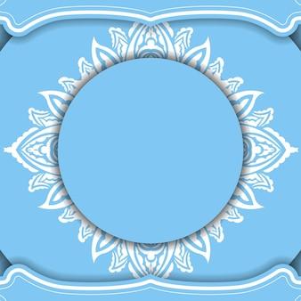 Blaue bannervorlage mit weißem vintage-muster und platz für ihr logo