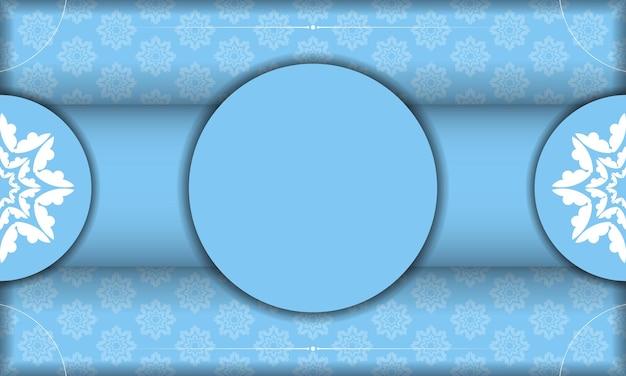 Blaue bannervorlage mit weißem vintage-muster und platz unter ihrem text