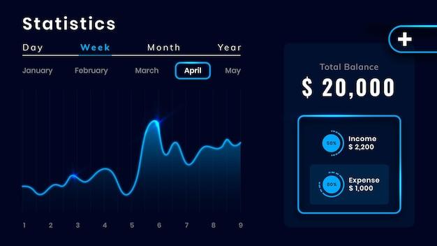 Blaue benutzeroberfläche des dashboards