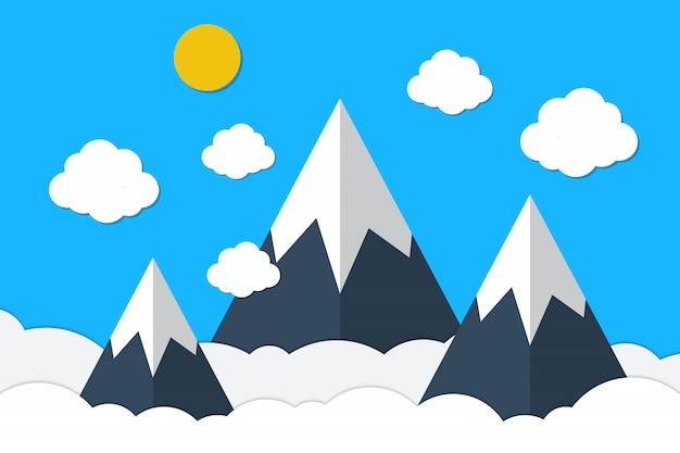 Blaue berge und himmelwolken in der papierart