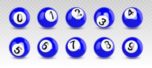 Blaue billardkugeln mit zahlen von null bis neun