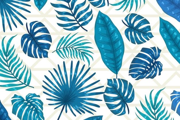 Blaue blätter mit geometrischem hintergrund