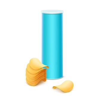 Blaue blechdose für verpackungsdesign mit chips
