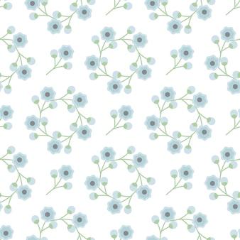 Blaue blume verzieren nahtloses muster des hintergrundes