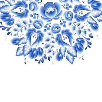 Blaue blumen blumen russisches porzellan schöne volksverzierung. illustration. dekorative komposition.