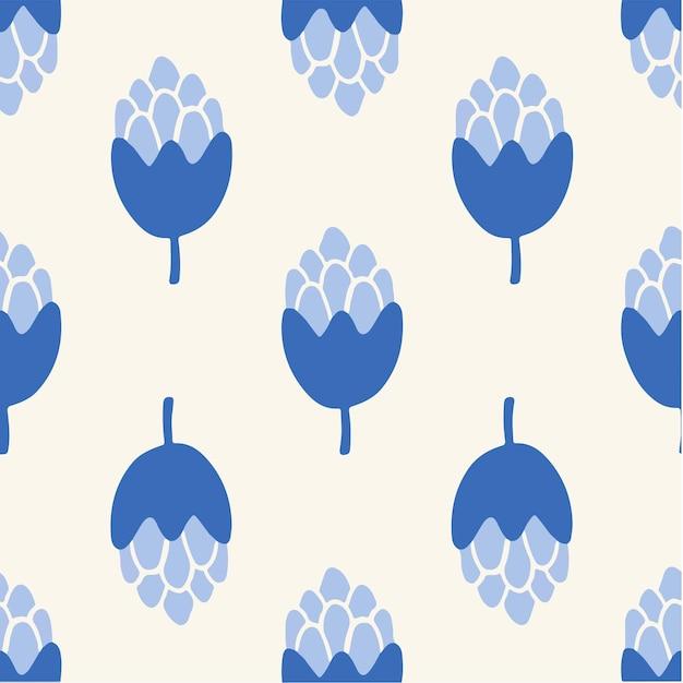 Blaue blumen-muster-hintergrund-blumen-vektor-illustration