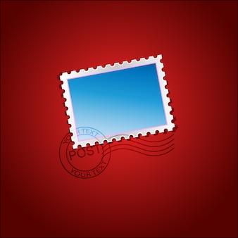 Blaue briefmarke auf rotem hintergrund