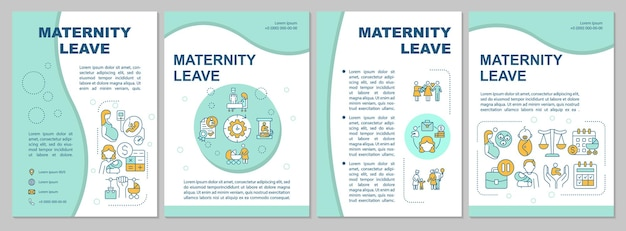 Blaue broschürenvorlage für mutterschaftsurlaub. flyer, broschüre, broschürendruck, cover-design mit linearen symbolen. vorteile und komplikationen. vektorlayouts für präsentationen, geschäftsberichte, anzeigenseiten