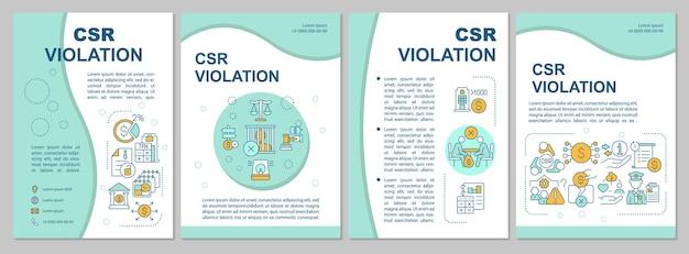 Blaue broschürenvorlage zur verletzung der sozialen verantwortung des unternehmens. flyer, broschüre, broschürendruck, cover-design mit linearen symbolen. vektorlayouts für präsentationen, geschäftsberichte, anzeigenseiten