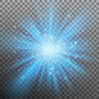 Blaue burst-farbe erzwingt licht. und beinhaltet auch