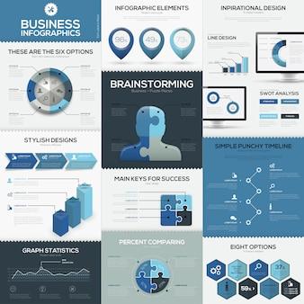 Blaue business infografiken vektorelemente und vorlagen