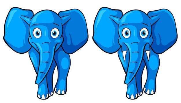 Blaue cartoon-elefant-front-pose, maskottchen-vektor-illustration