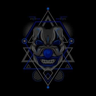 Blaue clown-geometriestil