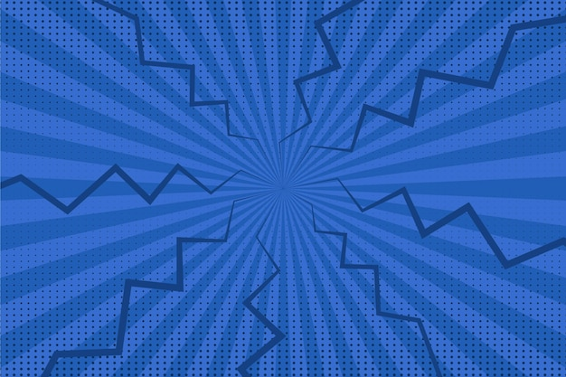Blaue comic-tapete des flachen designs