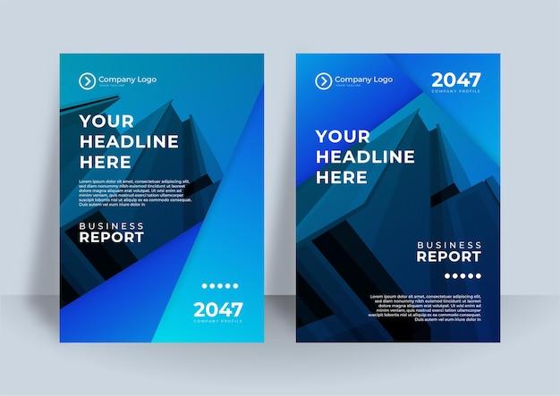 Blaue corporate identity abdeckung business-vektor-design. flyer broschüre werbung abstrakten hintergrund