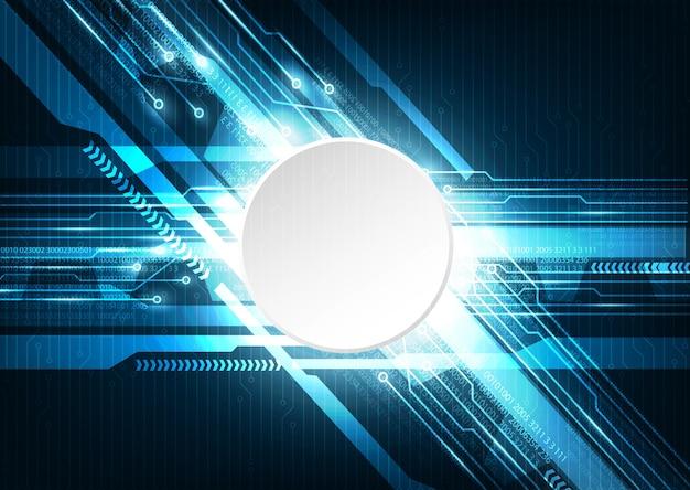 Blaue cyber-digital-technologie mit leiterplatte-hintergrund