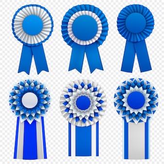 Blaue dekorative medaille spricht circulair rosetten-ausweisanstecknadeln mit dem realistischen satz der bänder transparent zu