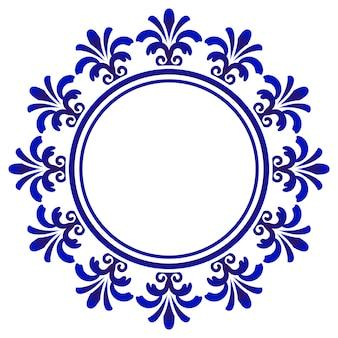 Blaue dekorative runde, rahmen der dekorativen kunst