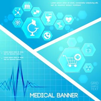 Blaue digitale komposition der medizinischen versorgung mit herzrhythmus- und medizinikonen in sechsecken