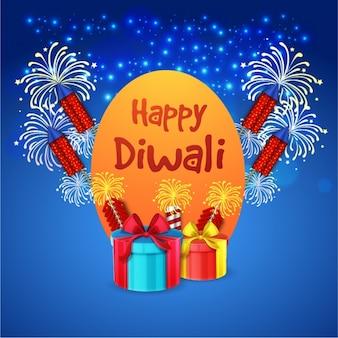 Blaue diwali hintergrund mit krachern und geschenke