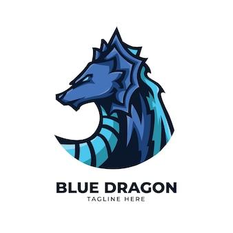 Blaue drachenillustration
