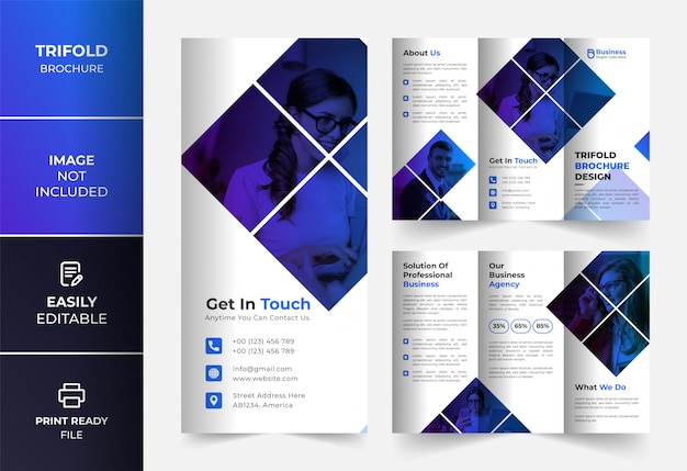 Blaue dreifache broschürenentwurfsvorlage des unternehmensgeschäfts