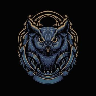 Blaue dunkle eule-vektorillustration
