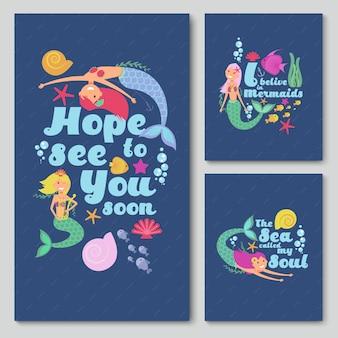 Blaue einladungsvektorkarten mit netter karikaturmeerjungfrau, starfish und fischen