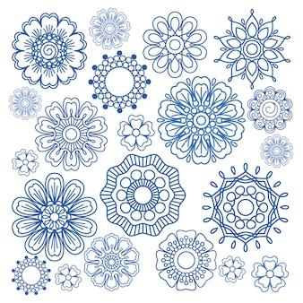 Blaue elemente des verzierungsblumengekritzel-vektors auf weiß
