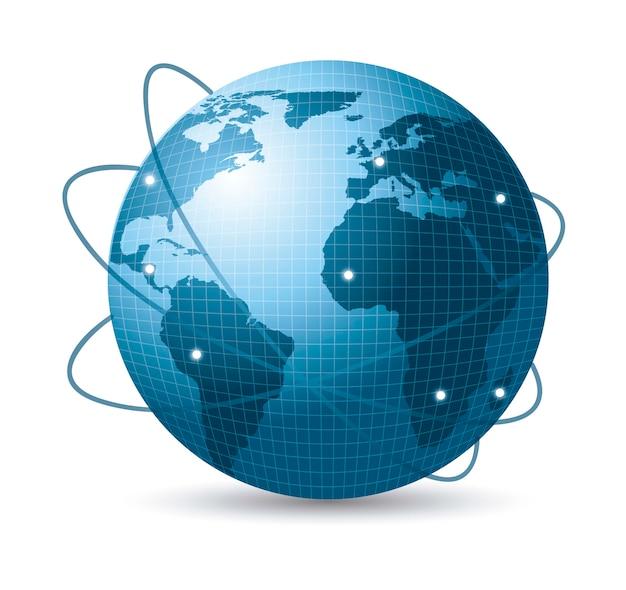 Blaue erde mit netz von satelliten mit schattenvektorillustration