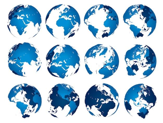 Blaue erdkugel. globes kugel silhouette isoliert satz